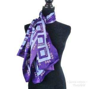Dolce & Gabanna Silk Scarf Purple Logo